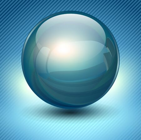 blue glass: Background with blue glass ball, vector sphere.