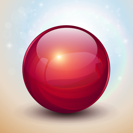 Background with red glass ball, vector sphere.