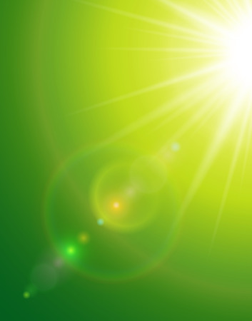 glaring: Sunny green natural  background with sun and lens flare. Illustration