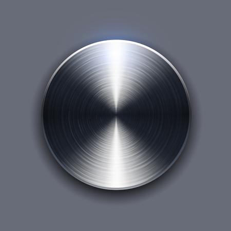 aluminium  design: Button brushed metal texture, circular metallic plate.
