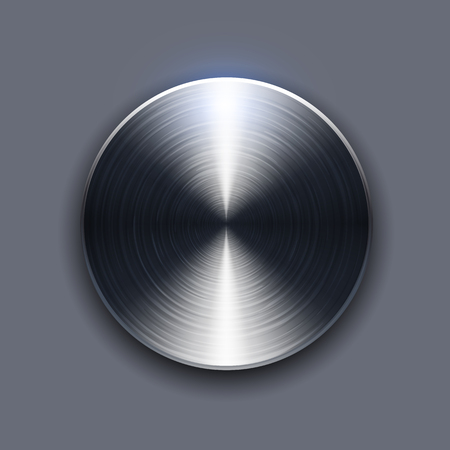 Button brushed metal texture, circular metallic plate.