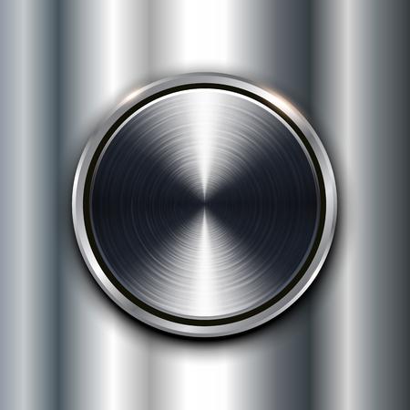 metallic: Metal texture background with metallic circular button.