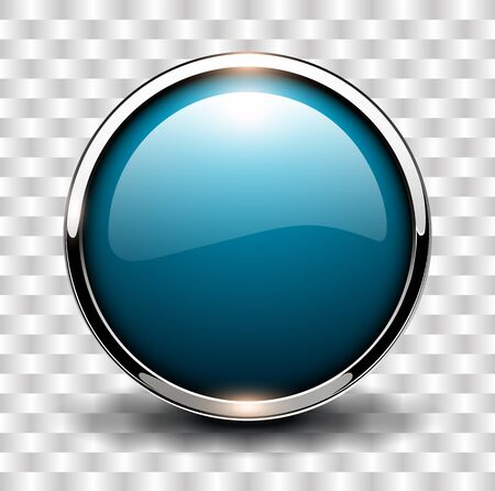 round button: Blue shiny button with metallic elements, vector design. Illustration