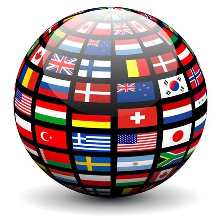 latitude: Flags of the world on a globe. Vector design. Illustration