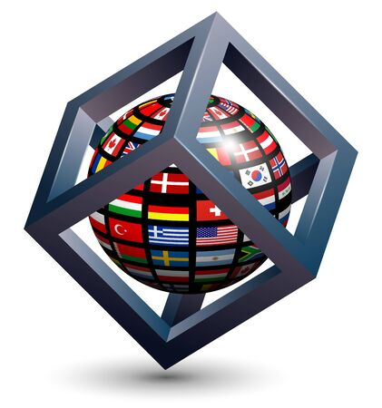 spheres: Abstract design, 3d cube with flag of the world on earth globe.