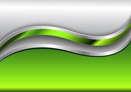 Abstract green background, vector metallic design.