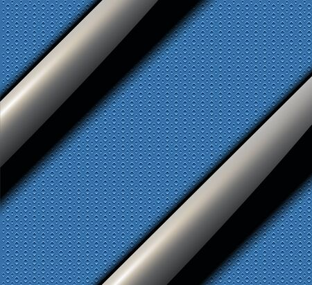 shiny black: Background with shiny black banners over blue seamless vector texture. Illustration