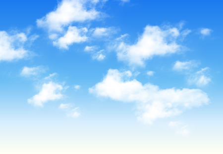 Blue sky with clouds, perfect day vector background. Stock Illustratie
