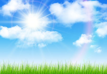 sky: Sunny sky with vector clouds, natural vector background.