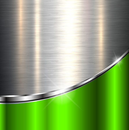 Metallic background polished steel texture, vector design. Stock Illustratie
