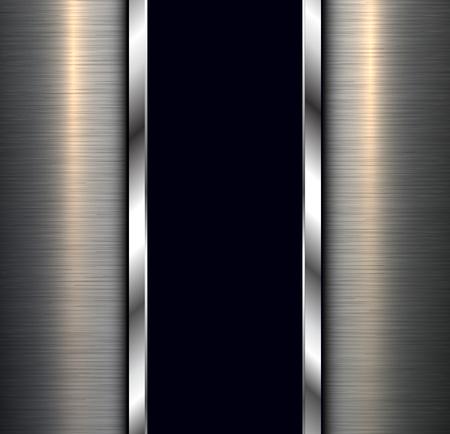 Background, polished metal texture with banner, vector design. Ilustração Vetorial