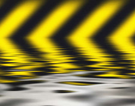 hazard stripes: Background with warning stripes, reflected in water.
