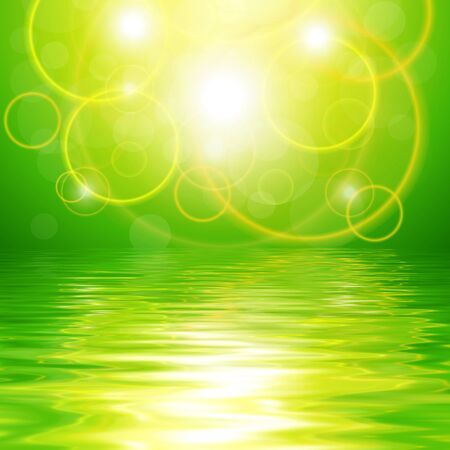 reflected: Green abstract background with lights reflected in water Stock Photo