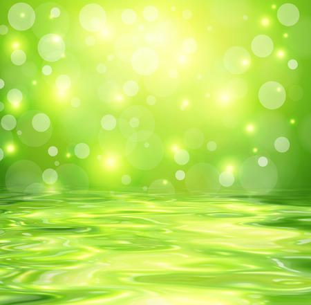 Fondo verde con las luces abstractas reflejadas en el agua, diseño del vector. Foto de archivo