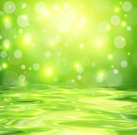 Green background with abstract lights reflected in water, vector design. Stock Photo