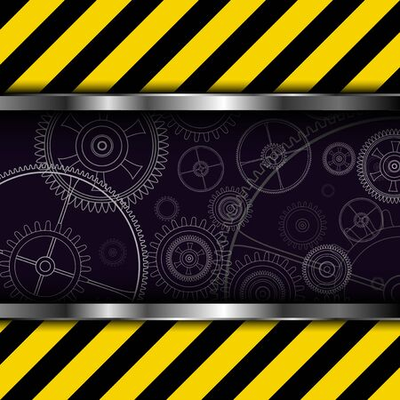 hazard stripes: Background metallic with warning stripes and technology gears,  vector illustration.