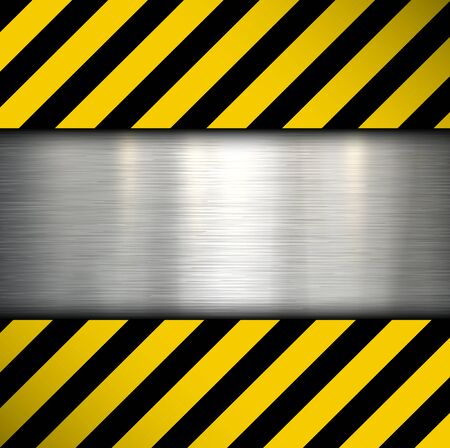yellow beware: Metal plate on warning stripes background, vector illustration.