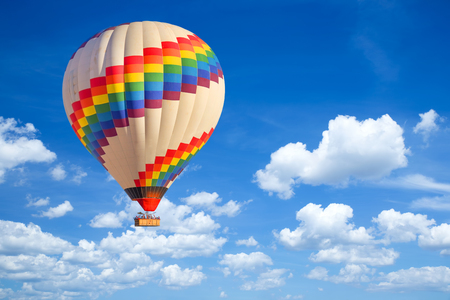 Hot-air balloon and blue sky. Imagens