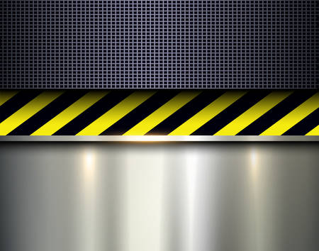 hazard: Warning stripes background with metal plate, vector illustration.
