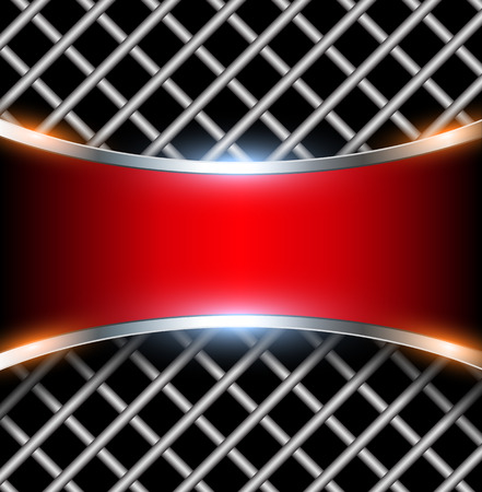 metal: 3D background with red metal banner, vector illustration.