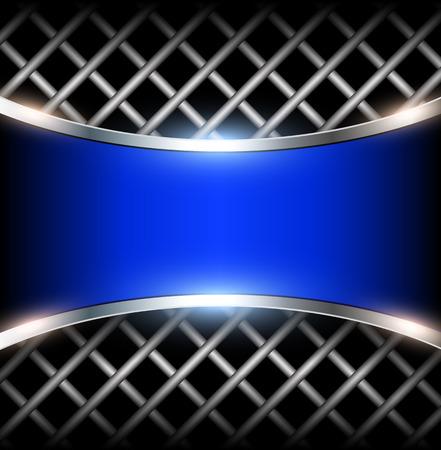 3D background with blue metal banner, vector illustration. Vetores