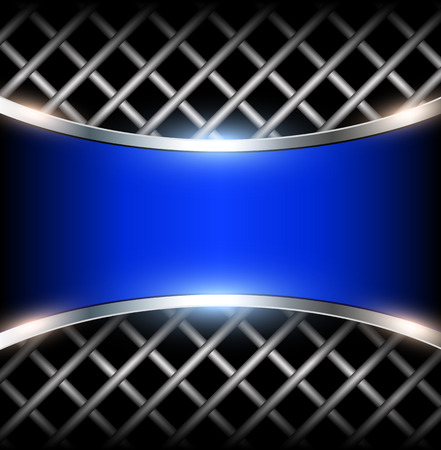 reflective: 3D background with blue metal banner, vector illustration.