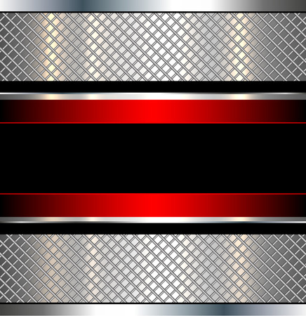 metal plate: Background metallic red with metal grid, vector illustration. Illustration
