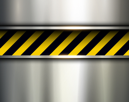 hazard stripes: Warning stripes background with metal plate, vector illustration.