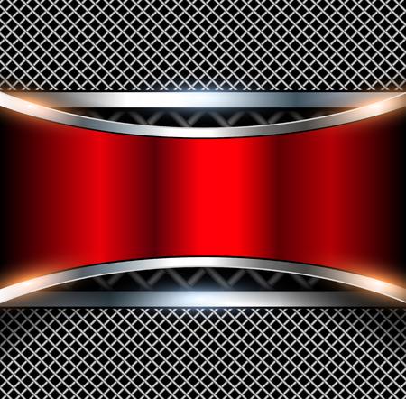 3D achtergrond met rode metalen banner, vector illustratie.