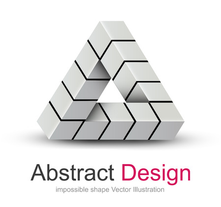 shape triangle: Abstract design 3D, impossible object, vector icon.