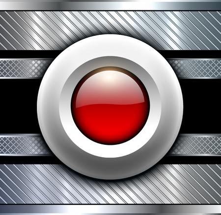 alarm button: Background metallic with red alarm button, technology design.