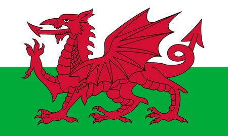 Wales Flagge, roter Drache auf dem weißen und grün Vektorgrafik