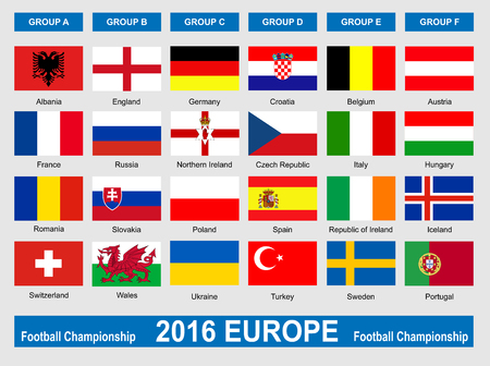 nothern ireland: The flags of members countries of European football championship 2016. Illustration