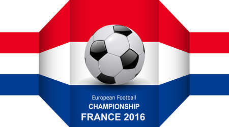 3d ball: Football european championship 3D background, with soccer ball and france flag.