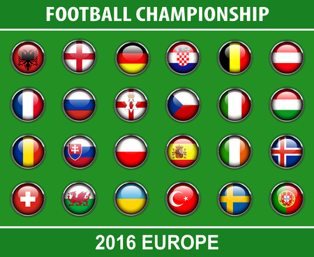 nothern ireland: Flags buttons of members countries of European football championship 2016.