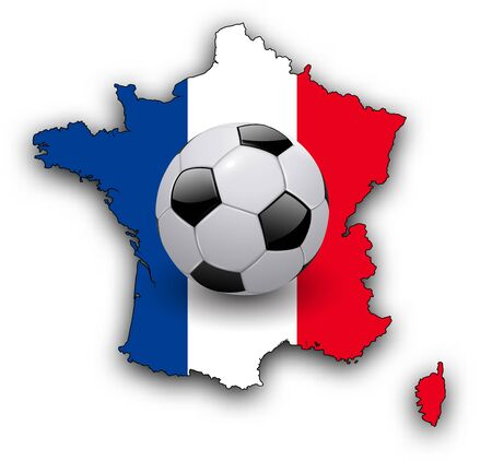 football european championship: Background with map of France and soccer ball, football european championship 3D illustration.