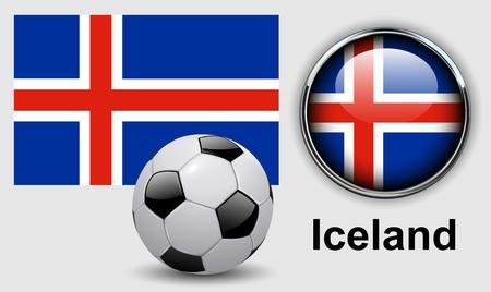 iceland flag: Iceland flag icons with soccer ball, vector design. Illustration