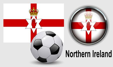 northern: Northern Ireland flag icons with soccer ball, vector design.