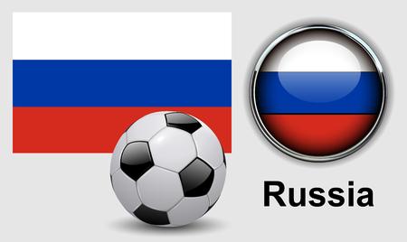 ballon foot: Russie drapeau icônes avec un ballon de soccer, conception de vecteur.