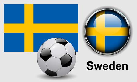 bandera de suecia: íconos Suecia con balón de fútbol, ??diseño del vector.