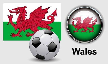 wales: Wales flag icons with soccer ball, vector design.