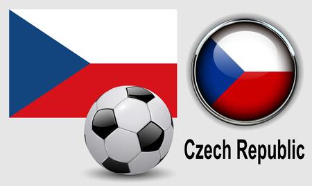 czech republic flag: Czech Republic flag icons with soccer ball, vector design. Illustration