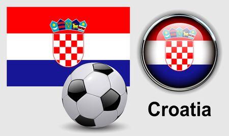 bandera de croacia: íconos Croacia con el balón de fútbol, ??diseño del vector. Vectores