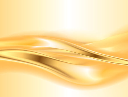 Abstract gold background, elegant wavy vector illustration Vettoriali