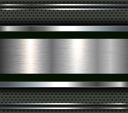 metal plate: Background with aluminum metal plate bars, vector.