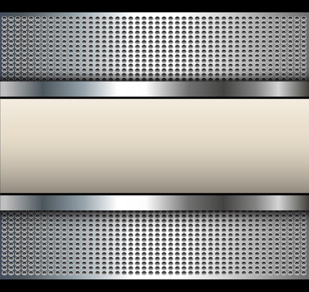 Background with beige banner over dotted pattern, metal vector illustration.