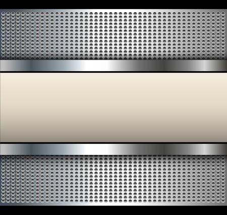 Background with beige banner over dotted pattern, metal vector illustration. Illustration