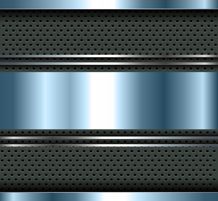 blue metallic background: Background blue metallic with aluminum metal plate bars, vector. Illustration