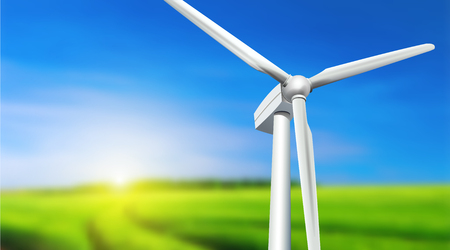 windpower: Wind turbine, grass and blue sky -  summer landscape, vector background.
