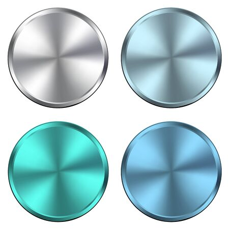 metal textures: Circular metallic vector plates, metal textures silver blue.